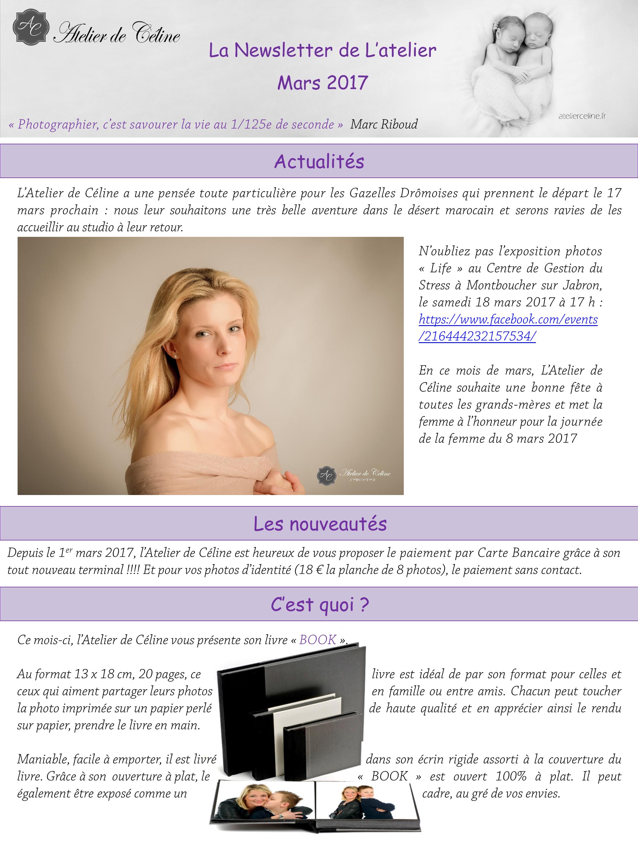 Newsletter Atelier de Céline, fête de la femme, carte bleue