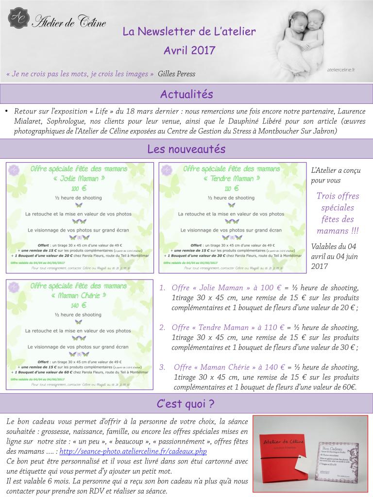 Newsletter bon cadeau photos studio fête des mamans