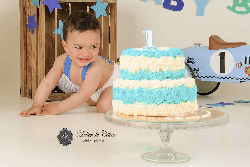 Séance Smash The Cake, studio, enfant, gâteau, bébé (4)