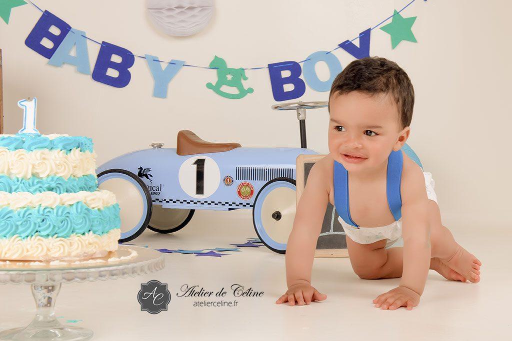 Séance Smash The Cake, studio, enfant, gâteau, bébé (2)