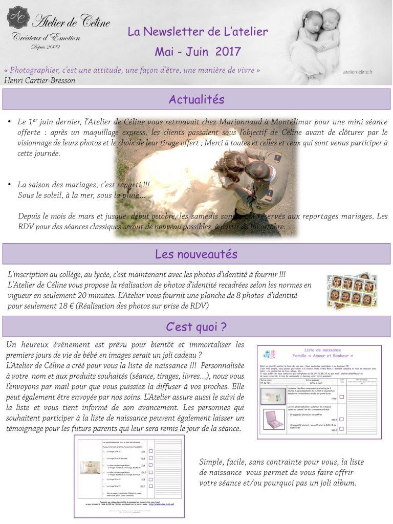 Newsletter atelier de Céline
